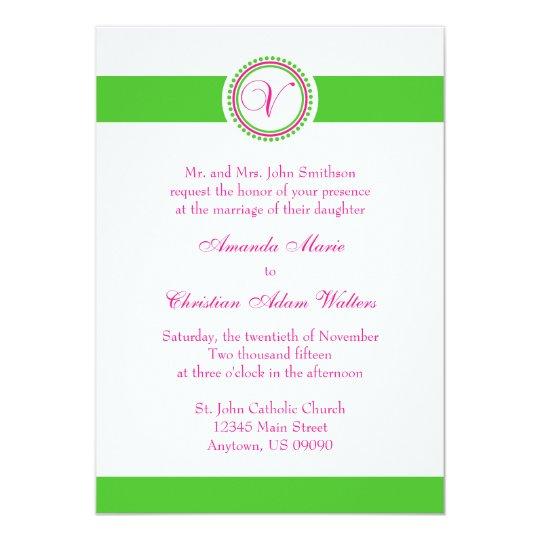 V Monogram Dot Circle Wedding Invite (Pink / Lime)