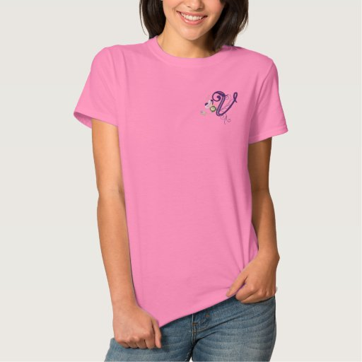 V monogram floral butterfly embroidery ladies tee