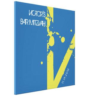 V Monogram Initial Bar Bat Mitzvah Sign-In Board Canvas Print