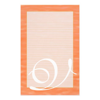 "V Monogram ""Peach Sunset Water"" Fine Lined Stationery"