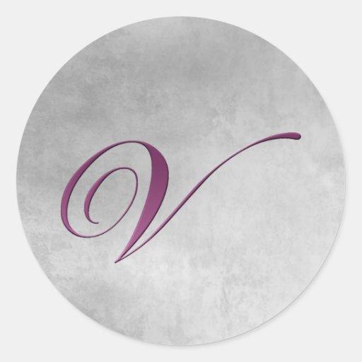 V Monogram Sticker Purple and Grunge