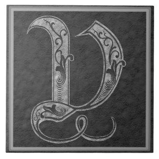 """V monograma baldosa cerámica """"de piedra"""" gris real azulejo cuadrado grande"""