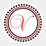 V monograma (círculo verde del punto rojo/del pegatina redonda