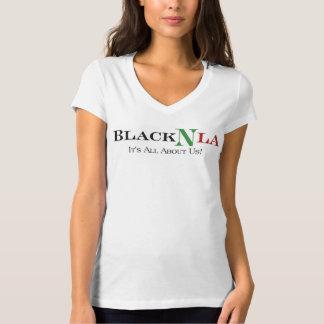 V-Neck White BlackNLA Tee Shirt