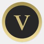 V:: Oro elegante del monograma V y pegatina negro