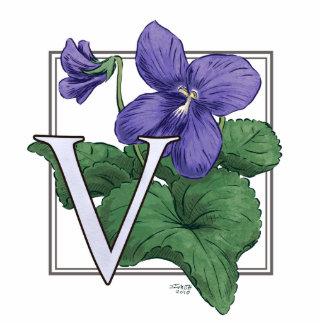 V para el monograma de la flor de las violetas fotoescultura vertical