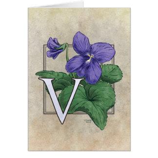 V para el monograma de la flor de las violetas tarjetón