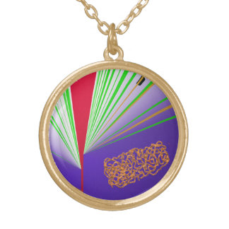 V-Red Abstract Gold Plated Necklace