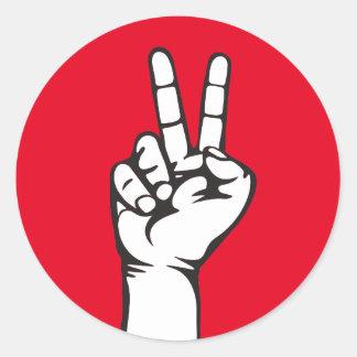V-sign hand classic round sticker