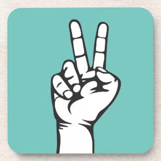 V-sign hand drink coaster