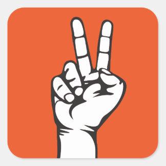 V-sign hand square sticker