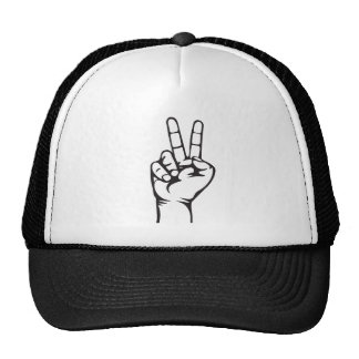 V-sign hand trucker hat
