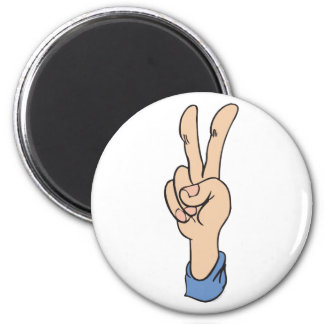 V-Sign is for Peace 2 Inch Round Magnet