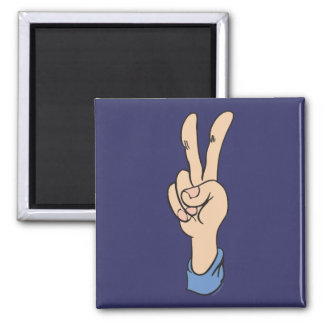 V-Sign is for Peace 2 Inch Square Magnet