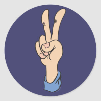 V-Sign is for Peace Classic Round Sticker