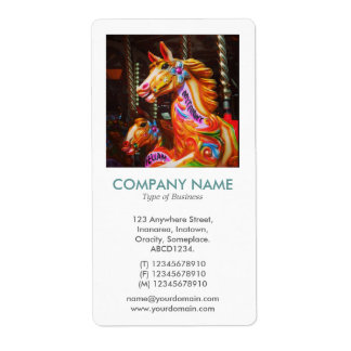 V Square Photo - Merry-go-round Horses Label