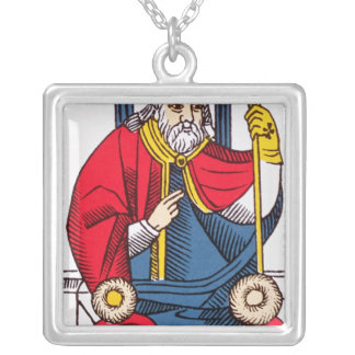 V The Pope, Tarot card Square Pendant Necklace