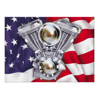 V-Twin Engine on American Flag Poster