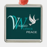 V-W Peace Square Metal Christmas Ornament