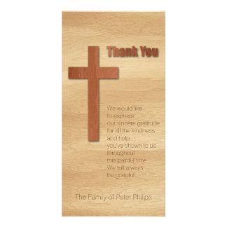 V Wooden Cross Christian Sympathy Thank You Card
