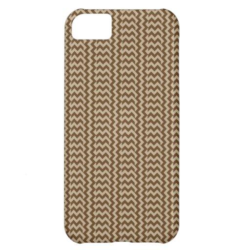 V y Brown de color caqui y oscuro del zigzag simpl Funda Para iPhone 5C