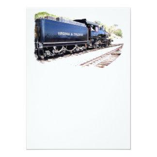 V y locomotora de vapor de T Invitación 13,9 X 19,0 Cm