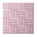 V y rayas amplias de H - cordón rosado y Puce Azulejos Cerámicos