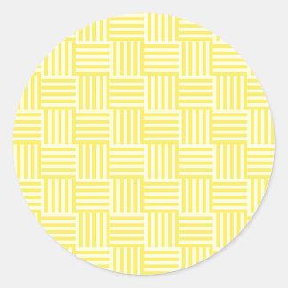 V y rayas de H - amarillas claras y maíz Pegatina Redonda