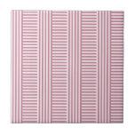 V y rayas simples de H - cordón rosado y Puce Azulejo Ceramica