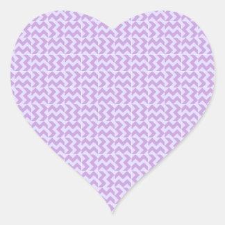 V y zigzag de H - glicinia y lavanda pálida Pegatina En Forma De Corazón