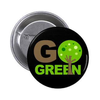 Va el árbol verde recicla pin redondo de 2 pulgadas
