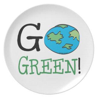 Va el Día de la Tierra verde Platos
