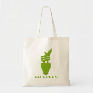 Va el diseño de concepto del bulbo de la luz verde bolsa tela barata