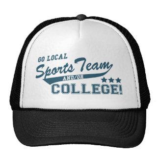 Va el equipo de deportes local y o la universidad gorras