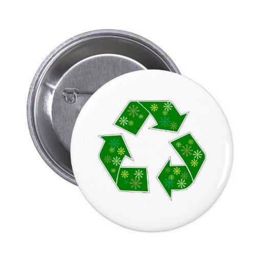 Va el flower power verde recicla pin redondo 5 cm