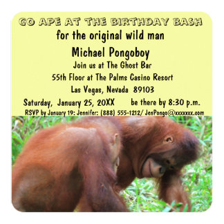 """Va el golpe del cumpleaños del mono invitación 5.25"""" x 5.25"""""""