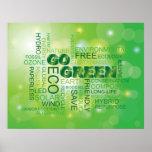 Va el poster verde de la nube de la palabra
