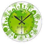Va el reloj de pared verde del diseño de la ecolog