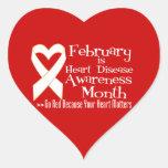 Va el rojo para el mes de la conciencia de la calcomanías de corazones