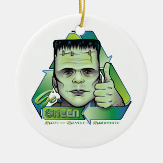 Va el verde adorno navideño redondo de cerámica