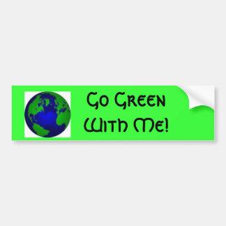 ¡Va el verde conmigo! Etiqueta De Parachoque