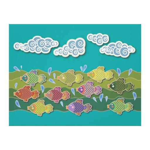 Va el verde de los pescados impresiones de lienzo