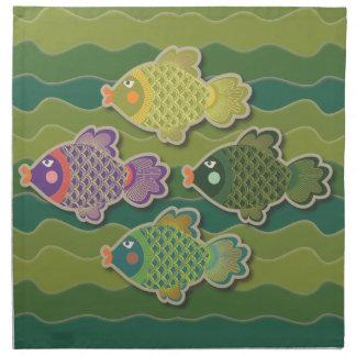 Va el verde de los pescados servilleta imprimida