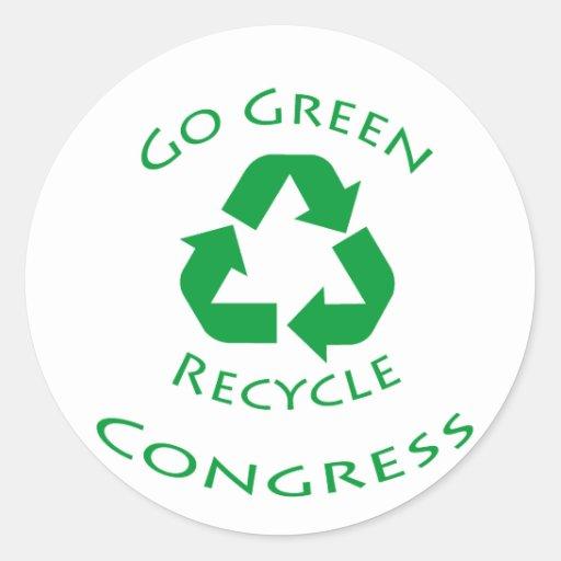 Va el verde recicla al congreso pegatina redonda