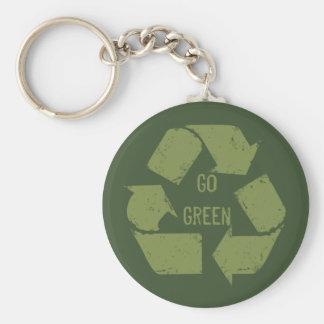 Va el verde recicla el logotipo llavero redondo tipo pin