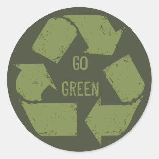Va el verde recicla el logotipo pegatina redonda
