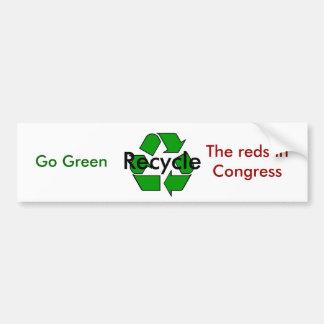 Va el verde - recicle los rojos en congreso pegatina de parachoque