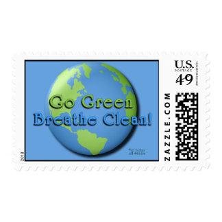 ¡Va el verde, respira limpio! en azul Sellos Postales