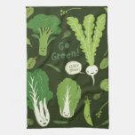¡Va el verde! (Verde frondoso!) Veggies felices Toalla De Cocina