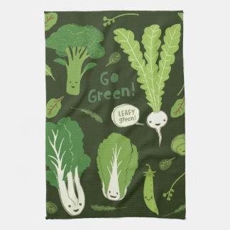 ¡Va el verde Verde frondoso Veggies felices Toalla De Cocina